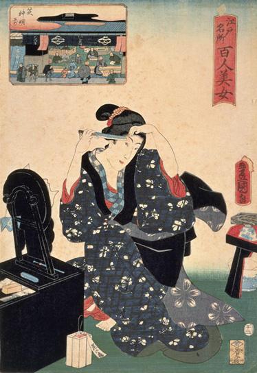 江戸名所百人美女 芝神明前/安政5年(1858)  鏡台の脇、足元に置かれているのは市販の「花の露」。 江戸時代後期に化粧水として人気を博した。
