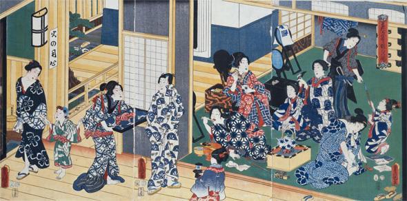 君たち集まり粧ひの図 歌川豊国/安政4年(1857)   吉原遊郭の朝。お歯黒をした遊女たちが描かれている。