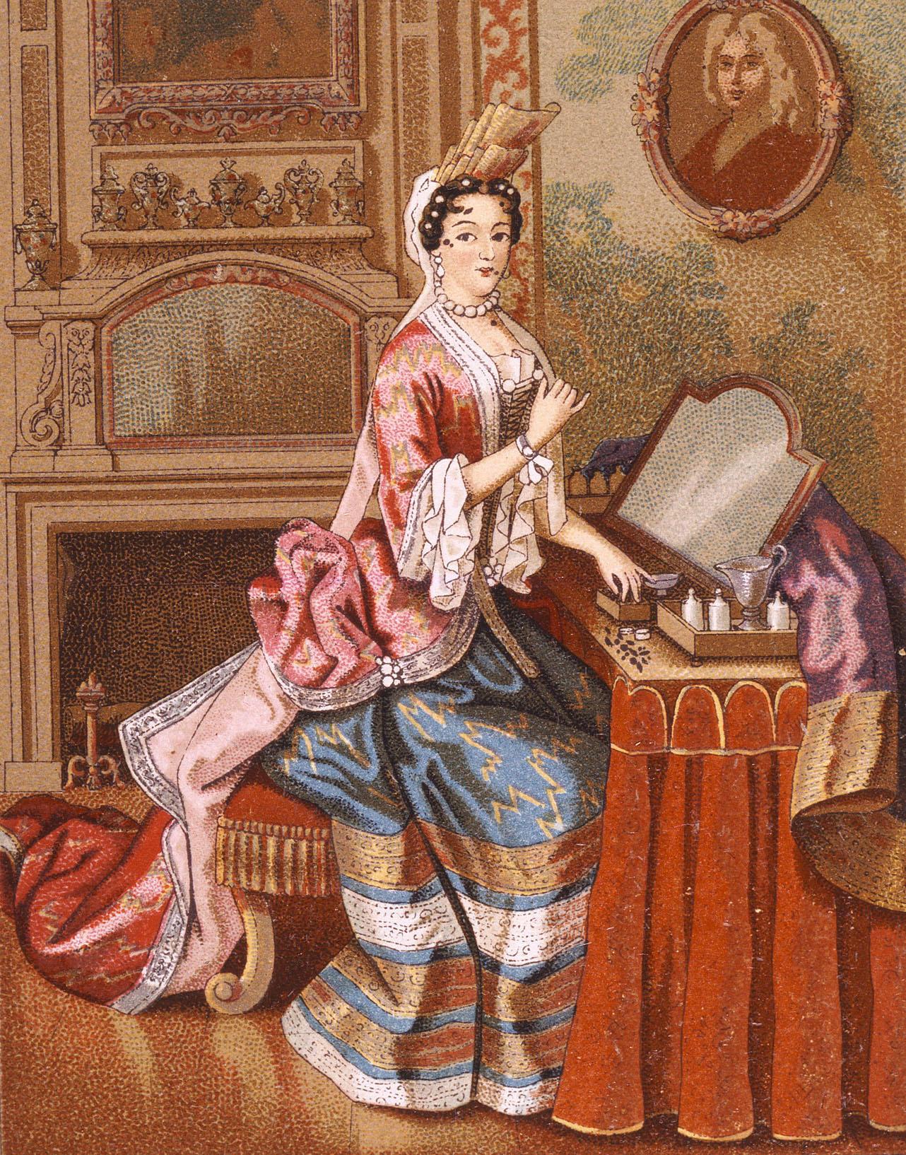 17世紀のパッチ化粧する貴婦人 ラシネ著『服装の歴史』より/1888年