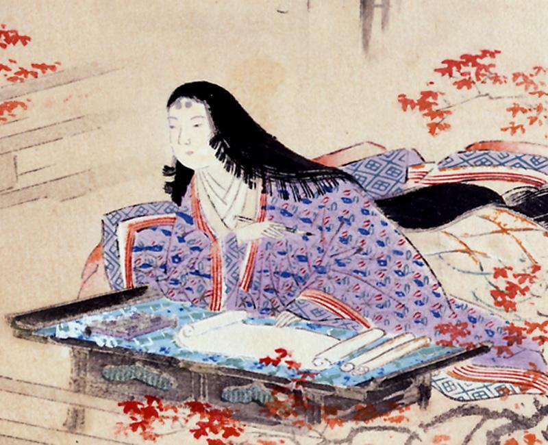 《中古諸名家美人競 紫式部》(部分) 長い黒髪を垂らした「垂髪」。