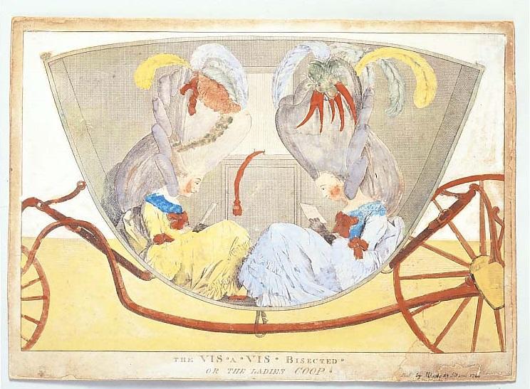 《二等分された二人用馬車、またはご婦人たちの檻》1770年代後半、フランス