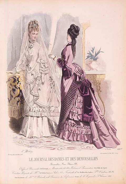 19世紀のヘアスタイル、『ル・ジュルナル・エ・デ・ドモワゼル』より、1875年