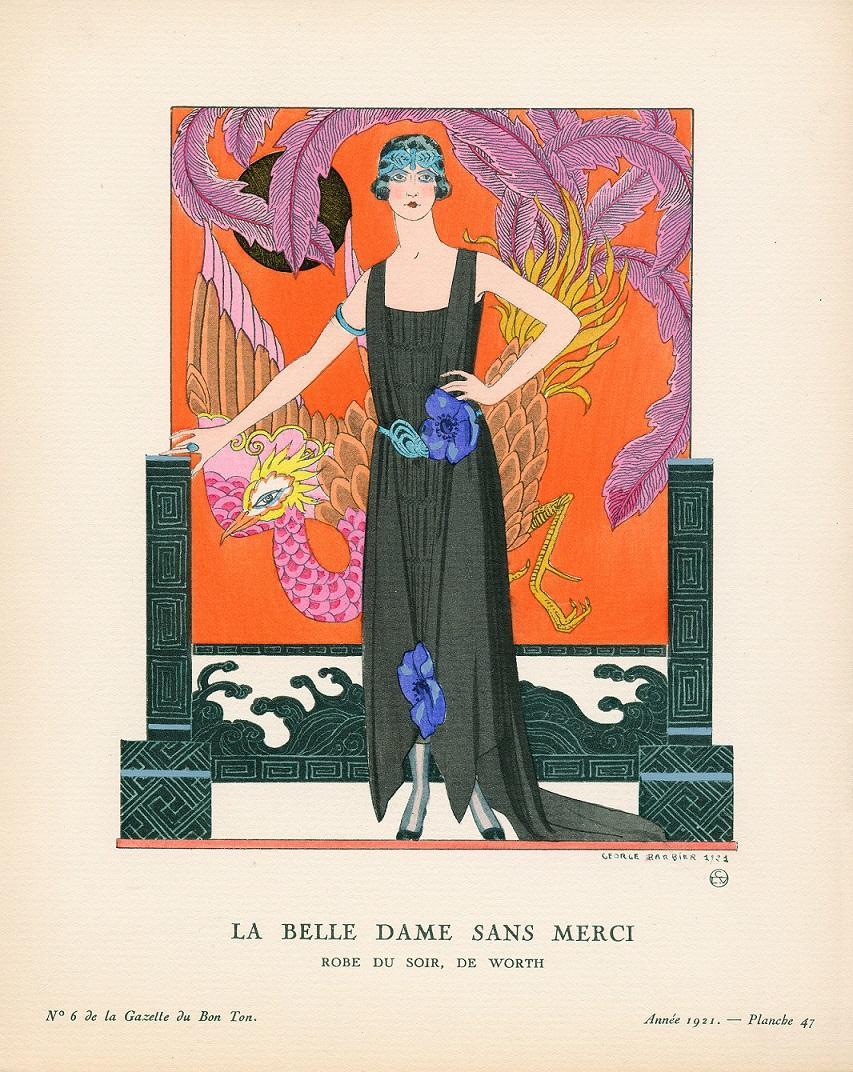 《つれなき貴婦人 ウォルトのイヴニング・ドレス》 ジョルジュ・バルビエ 『ガゼット・デュ・ボントン』 1921