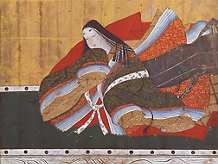 《三十六歌仙扁額 三条院女蔵人左近》(部分) 狩野探幽 (静岡浅間神社蔵) 額に眉を美しく描いた高貴な身分の女性。