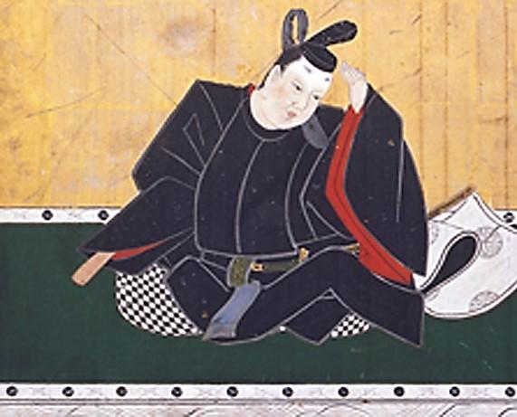 《三十六歌仙扁額 中納言敦忠》(部分) 狩野探幽 (静岡浅間神社蔵) 眉化粧は権威の象徴、身分や階級を示すものと考えられ、公家など男性も化粧をするようになった。