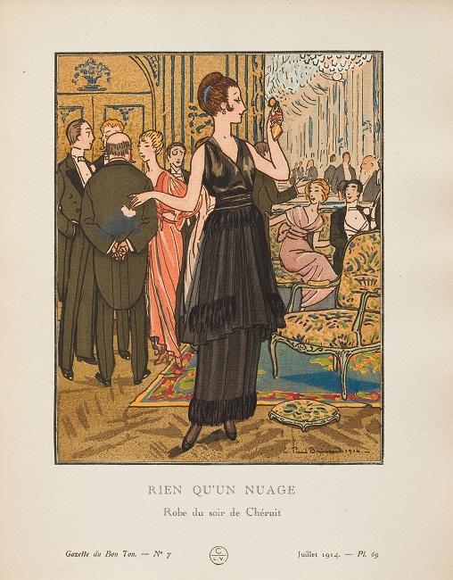 エール・ブリソー「まるで雲のよう シェリュイのイヴニング・ドレス」『ガゼット・デュ・ボン・トン』(ファッション・プレート) 1914年