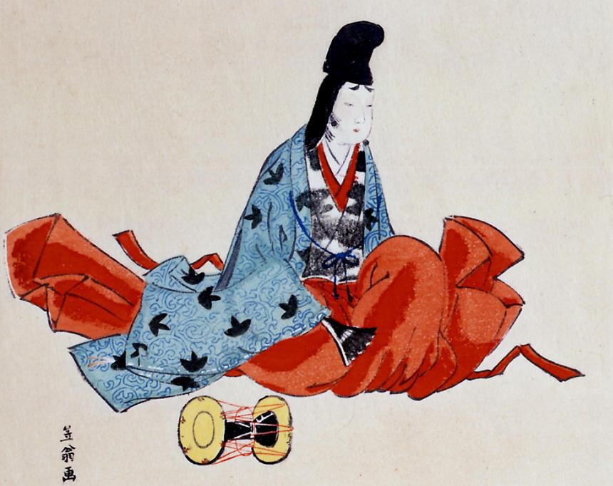 《白拍子 中古諸名家美人競》(部分) 白拍子は男装を基本としていたが、白粉を塗り、紅や眉化粧を施していた。この絵は、明治時代に描かれたものだが、当時の化粧や白拍子のよそおいの特徴を表している。