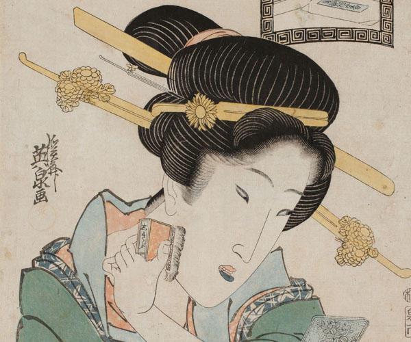 《美艶仙女香 式部刷毛》渓斎英泉 文化12年~天保13年(1815~1842)(国文学研究資料館撮影) 文化・文政頃に流行った笹色紅。紅を塗った唇が緑色になっている。