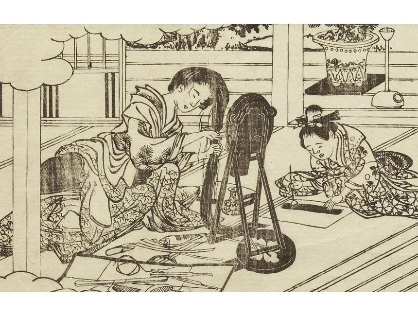 『都風俗化粧伝』(部分) 佐山半七丸著 文化10年(1813) 鏡の前に道具を広げ、髪を解きほぐして櫛でとかしている。