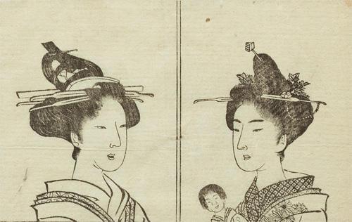 『都風俗化粧伝』(部分) 佐山半七丸著 文化10年(1813) 日本髪の形は実にさまざま。左は「両手髷」、右は「ばい髷」。