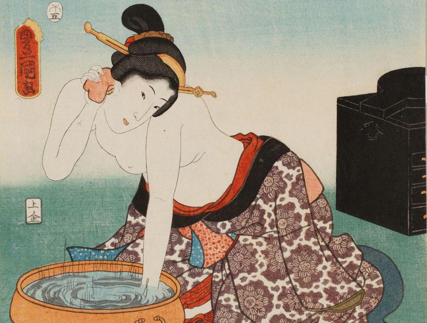 《江戸名所百人美女 御殿山》(部分) 三代歌川豊国 安政5年(1858)(国文学研究資料館撮影) 盥に水を張り、糠袋で身体を洗っている女性。