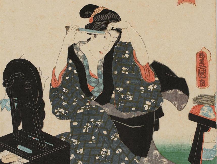 《江戸名所百人美女 芝神明前》(部分) 三代歌川豊国 安政5年(1858)(国文学研究資料館撮影) 鏡台を前に、眉を整える女性。