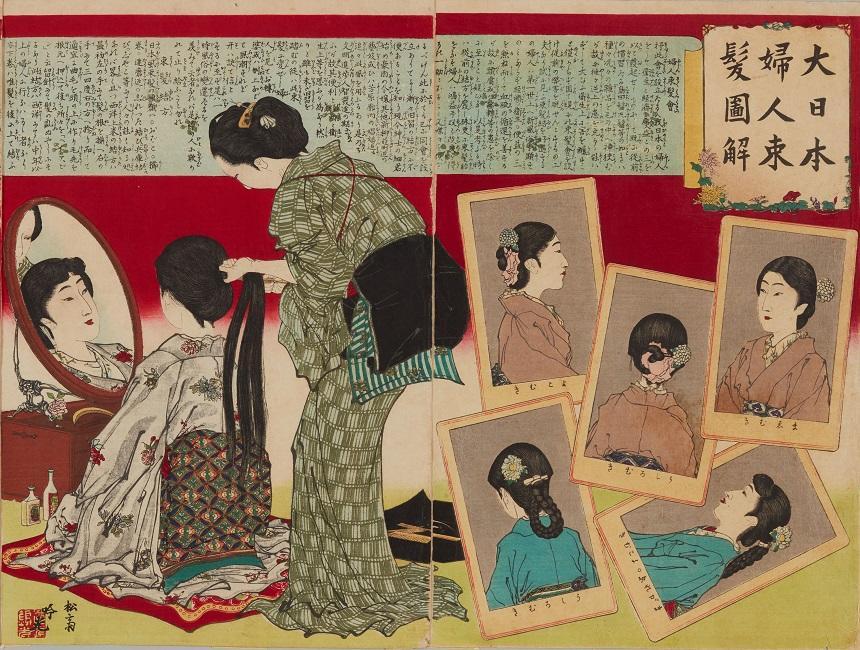 明治時代の髪型1<br>明治中期、新しい髪型「束髪」の登場