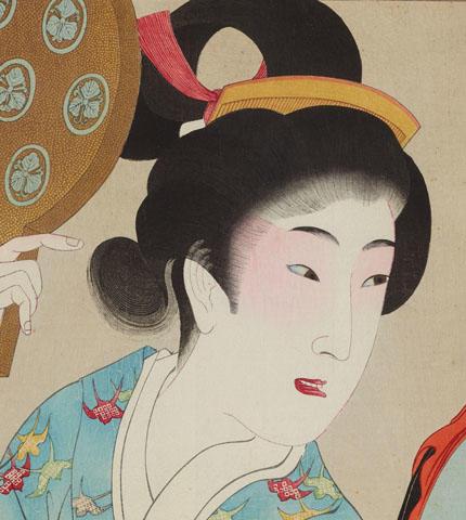 《時代かがみ 安永の頃》(部分) 楊洲周延 (国文学研究資料館撮影) 目のあたりに紅化粧を施している。江戸時代、安永の頃の女性像。