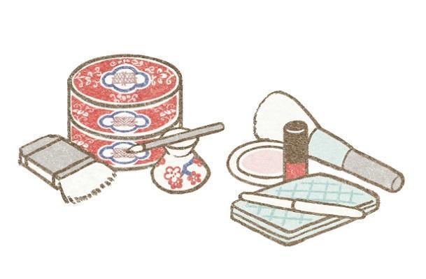 江戸美人ちゃんと現代女子ちゃんのメーク道具
