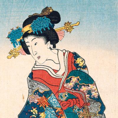 江戸名所百人美女 霞ヶ関 三代歌川豊国/安政4年(1857)